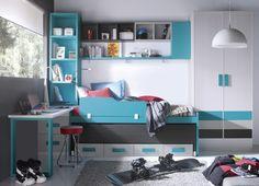 Pizarra y turquesa son los colores predominantes en esta composicion juvenil.