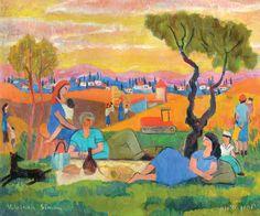 Yochanan Simon - Resting in the Kibbutz, Oil on canvas, 26X31 cm.