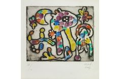 Joan Miró (Spanish, 1893-1983), One Plate, from The Prints of Joan Miró (D. 48), 1947. Etching with handcoloring on Auvergne paper, signed in pencil and numbered X/L, published/printed by Curt Valentin/Atelier 17, New York, with full margins, framed. 4 7/8 x 5 7/8in/ Sheet 10 7/8 x 8 5/8in. Sold for $35,000; Est. $15,000-20,000.