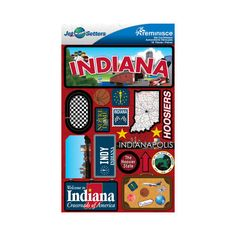 Reminisce - Jetsetters Collection - 3 Dimensional Die Cut Stickers - Indiana