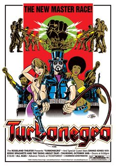 """Turbonegro with Danko Jones and Eddie Spaghetti and The Thing About That • 10/20/05 Roseland Theater, Portland OR • 22"""" x 32"""" six-color silkscreen with fluorescent and metallic inks. ©2005 Greg Stainboy Reinel"""