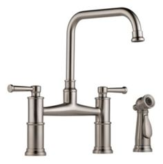 Two Handle Bridge Kitchen Faucet with Spray : 62525LF-SS : Artesso : kitchen : Brizo