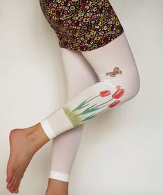 White Pantyhose Tights,Green Red Print Poppies Flowers Leggings,Butterfly Tattoo,Red Poppy Tights Footless Pantyhose Handmade