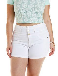 Plus Size Refuge High-Waist Shortie Denim Shorts #CharlotteRussePlus #Charlotte0to24 #Plus