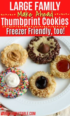 Large Family Make-Ahead Thumbprint Cookies, Freezer Friendly Recipe! - Large Family Table Cookie Dough Recipes, Delicious Cookie Recipes, Dessert Recipes, Desserts, Meal Recipes, Best Freezer Meals, Freezer Cooking, Batch Cooking, Cooking Tips