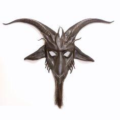 Baphomet Goat Leather Mask  horsehair beard READY TO by teonova, $285.00