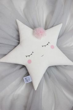 Handmade sleeping white star pillow with a pale pink tulle flower. Dimensions - Pale pink flower made with a tulle fabric. All my pillows are made with COTTON on. Pink Pillows, Cute Pillows, Baby Pillows, Pillows For Kids, Tulle Flowers, Pink Tulle, Tulle Fabric, Baby Mobile, Christmas Pillow