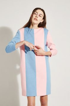 Stripe Wool Dress Pink and Blue - THE WHITEPEPPER http://www.thewhitepepper.com/collections/winter-drop-1/products/stripe-wool-dress-pink-and-blue