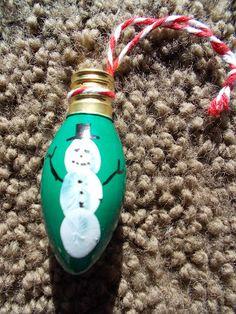 Fingerprint Snowman Light Bulb Ornament