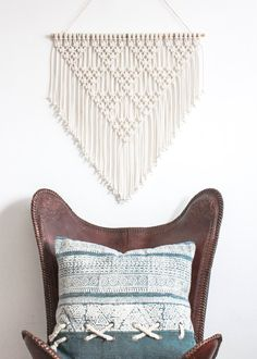 Macrame Wall Hanging > TRIANGLES > 100% Cotton Cord in Natural Ecru with Bamboo