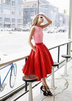 Dior full circle RED leather skirt.