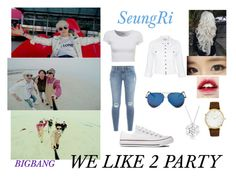 """BIGBANG - WE LIKE 2 PARTY (SeungRi )"" by kariina-sykes ❤ liked on Polyvore featuring Converse, Current/Elliott, Frame Denim, Victoria Beckham, Larsson & Jennings and Bling Jewelry"