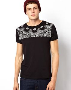 Image 1 ofASOS T-Shirt With Bandana Print Cut And Sew Yoke Panel