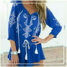 """Aztec western blue romper COMING SOON! Gorgeous deep blue printed romper on cotton and polyester blended fabric. Drawstring tassle waist and neck for added style. Cinched 3/4 sleeves. 36"""" bust, shoulder 15"""" across. Like to be notified of arrival. Discounts given on bundles. boutique  Shorts"""