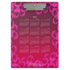 2014 Calendar Clipboard BOTANICAL PINK POP #calendar #clipboard #2014calendar #pink #botanical #zazzle