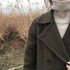    knit turtleneck sweater    green pea coat jacket   