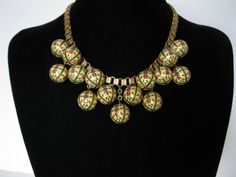 Art Deco Enameled Orb Necklace