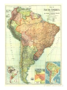 1921 South America Map Poster na AllPosters.com.br