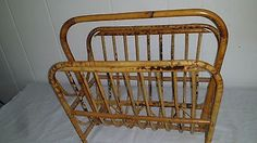 Vintage Mid-Century Rattan Bamboo Bentwood Magazine Newspaper Book Rack Holder