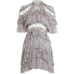 ZIMMERMANN Stranded Tier Mini Dress (5.840 BRL) ❤ liked on Polyvore featuring dresses, vestidos, flower print dress, ruffle dress, embroidered mini dress, zipper dress and short ruffle dress