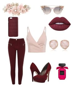 """burgundy"" by chelseahymer ❤ liked on Polyvore featuring River Island, Michael Antonio, Accessorize, Lime Crime, Monica Vinader and Dagmar"