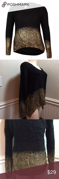 "Bar lll Women's Wool Blend Boucle Pullover Sweater Bar lll Women's Wool Blend Boucle Pullover Sweater. B035. Amazing black and metallic gold colored sweater. High-low. 86% acrylic 9% polyester 5% wool. Soft and stretchy fabric. 20"" across armpit to armpit 24"" long✨Medium 21"" across armpit to armpit 24"" long✨Large 22"" across armpit to armpit and 26"" long✨ Bar III Sweaters Crew & Scoop Necks"