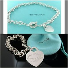 """*1DAY SALE*Tiffany necklace & large heart bracelet Cheaper through  or M E r c a r ii  Authentic Tiffany & co. toggle necklace and *LIMITED EDITION* large heart bracelet  *Was engraved """"BAP,"""" but engraving has been removed, and deeply cleaned and polished at Tiffany & Co.  Comes with box and pouch  Price is negotiable Tiffany & Co. Jewelry"""
