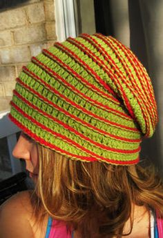 Yo-Yo Crochet Hat-Knit Picks spiral pattern, surface crochet added
