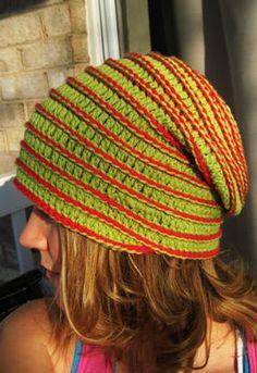 Yo-Yo Crochet Hat-Knit Picks spiral pattern, surface crochet added