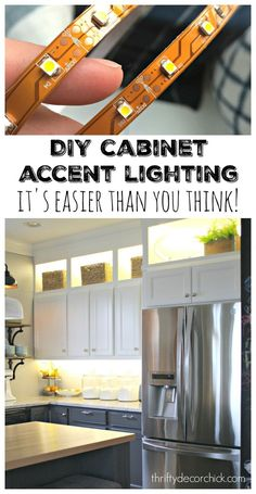 How to add upper and lower accent lighting to cabinets in kitchen.