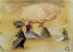 On the Beach - 1898 - sketch and study -Pierre-Auguste Renoir