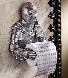 Design Toscano Toilet Paper Holder - Medieval Knight to Remember Gothic Bathroom Decor - Toilet Paper Roll - Bathroom Wall Decor -