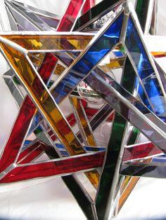 Five Tetrahedra Glass Ceiling Lamp