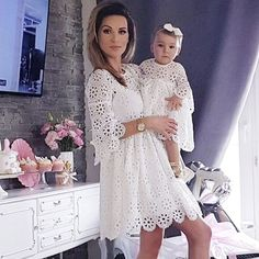 FeiTong Vintage white lace dress women Overlay o neck autumn white dress 2018 High waist sexy embroidery mini dress vestidos Mommy Daughter Dresses, Mother Daughter Matching Outfits, Mother Daughter Fashion, Mommy And Me Outfits, Mom Dress, Baby Dress, Baptism Dress For Mom, Mom Daughter, Dress Long