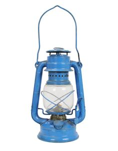 vintage blue camping lantern I have one of these in red somewhere I can give you