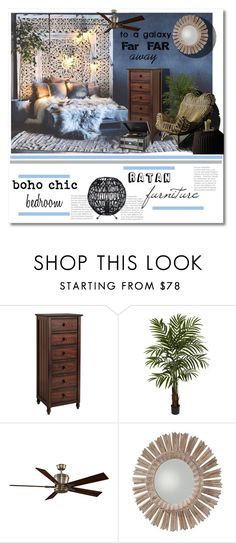 """boho chic bedroom"" by psyche8778 ❤ liked on Polyvore featuring interior, interiors, interior design, home, home decor, interior decorating, Pier 1 Imports, Nearly Natural, Fanimation and Arteriors"