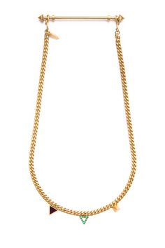 A delicate curb chain with three accents in enamel, crystal and 14k gold  plated brass.  Materials: 14k gold plated brass, enamel, crystal.