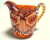 Vintage EAPG Imperial Glass Marigold Carnival Star and File pattern Large Creamer 1904    I take CREDIT CARDS