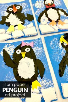 Learn about penguins. Then get creative with this torn paper penguin craft full of fine motor practice and creative art techniques for kids. #penguins #penguintheme #kidart #kidscraft #craftsforkids