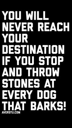 You will never reach your destination if you stop and throw stones at every dog that barks! Inspirational Quotes For Her, Motivational Quotes For Life, Wise Quotes, Meaningful Quotes, Great Quotes, Words Quotes, Positive Quotes, Sayings, Hustle Quotes