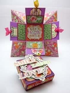 I know I shared an Explosion Box tutorial not long ago. Here is an explosion box I cr. Explosion Box Tutorial, Pop Box, Arts And Crafts, Paper Crafts, Exploding Boxes, Craft Box, Art Pages, Box Packaging, Homemade Cards