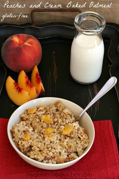 Gluten-free Peaches and Cream Baked Oatmeal ~ Make this in the evening and let it sit overnight in the fridge for a hearty breakfast in the morning!