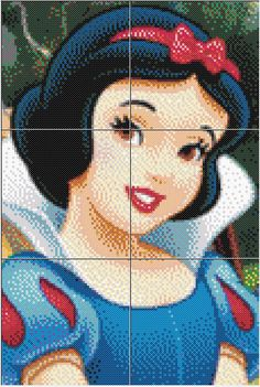 Princess Snow White Hama Beads Cross Stitch Designs, Cross Stitch Patterns, Melty Bead Designs, Hama Disney, Beads Pictures, Perler Patterns, Pearler Beads, Princesas Disney, Beading Patterns