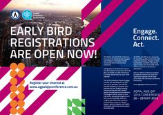 Double page spread design for an early bird registration.