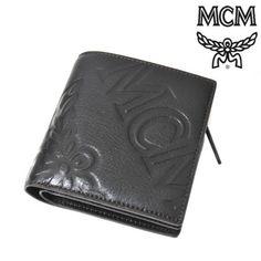 MCM(エムシーエム) レザー 二つ折り財布 ジップ付き ブラック 型押し【送料無料】 wal-mcm-013