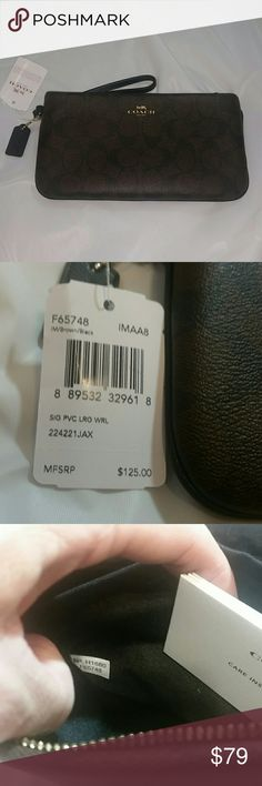 """Coach Signature Large Wallet Blk/Brn Coach Signature Large Wallet  Zipper top, wristlet, 6 credit card holders, and 2 inside compartments. Length: 8.5"""" Top to bottom: 4.5"""" See my matching Hobo Purse :) Coach  Bags Wallets"""