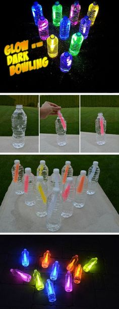 Bowling glow in the dark 16 DIY summer activities for children outdoors Fun sum . Bowling glow in the dark 16 DIY summer activities for children outdoors Fun sum … – Kids Crafts, Summer Crafts For Kids, Crafts For Kids To Make, Summer Kids, Summer Glow, Party Crafts, Kids Diy, Diys For Summer, Party Summer