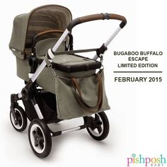 COMING SOON: The first limited edition bugaboo Buffalo: The Escape! Designed for high performance, no matter where you go. Washed cotton canvas in Balsam Green with a striped interior, matching tote bag, perforated faux leather details on the handle bar and bassinet give the stroller a warm yet rugged look. Sign up to find out when you can preorder! http://www.pishposhbaby.com/bugaboo-buffalo-escape-stroller-limited-edition.html