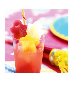 """Ingredients 6 cups assorted fruit juices 3 cups ginger ale 3 cups seltzer water  Directions Make the ice: Freeze juice in ice trays. When solid, release from molds and store by flavor in sealable freezer bags for up to 1 month.  Make the punch: Fill an 8-ounce glass to the top with about 1/2 cup assorted flavored ice cubes, add 1/4 cup ginger ale and 1/4 cup seltzer, and serve immediately. """"Courtesy of Country Living """"  - MarieClaire.com"""