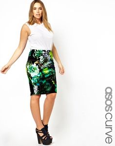 ASOS CURVE Pencil Skirt In Velvet Floral! Beautiful OUTFIT!